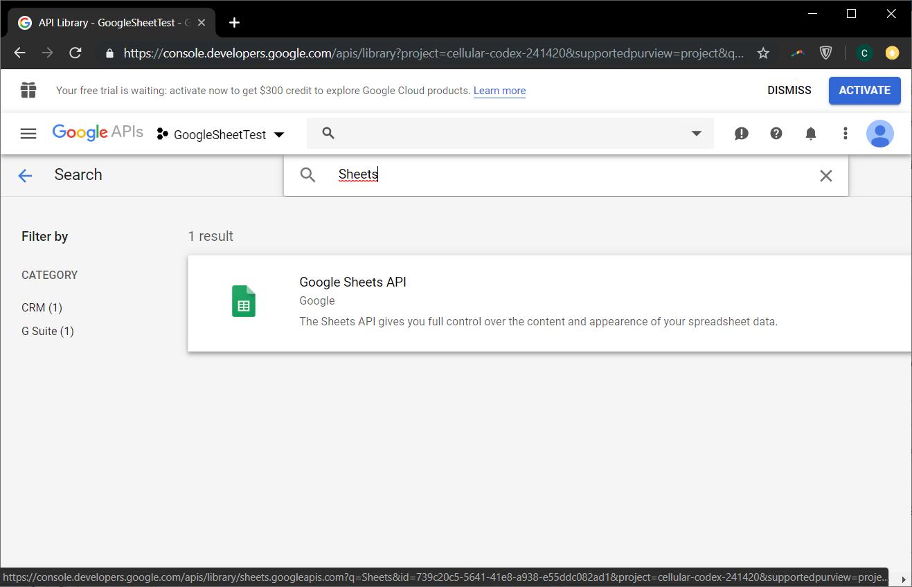 google sheet api