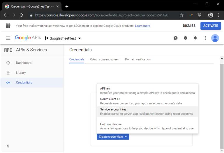 google service account