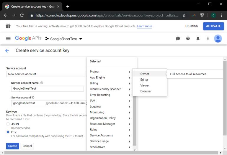 google account key p12